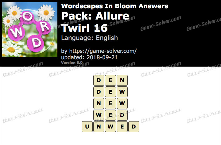 Wordscapes In Bloom Allure-Twirl 16 Answers