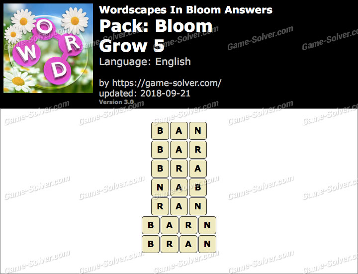 Wordscapes In Bloom Bloom-Grow 5 Answers