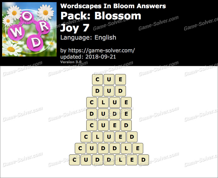 Wordscapes In Bloom Blossom-Joy 7 Answers