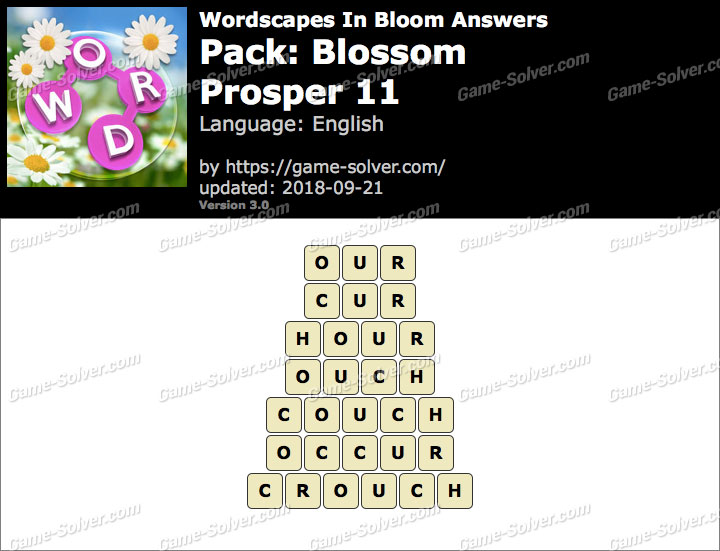 Wordscapes In Bloom Blossom-Prosper 11 Answers
