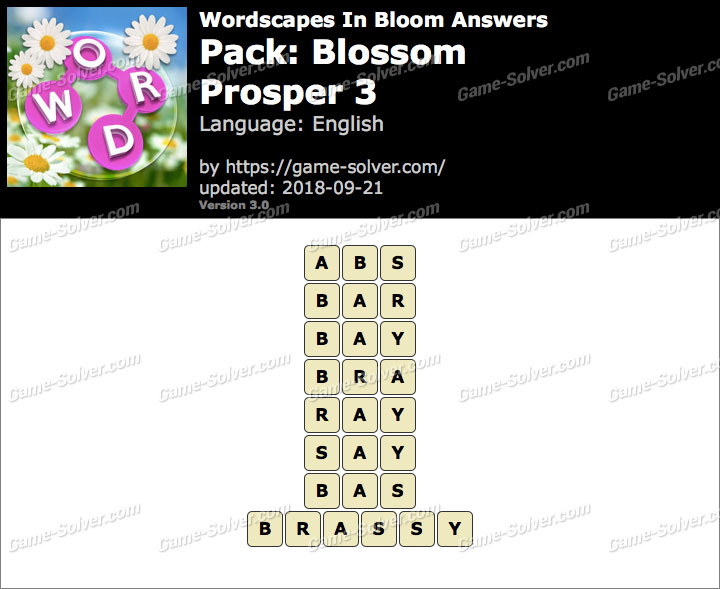 Wordscapes In Bloom Blossom-Prosper 3 Answers