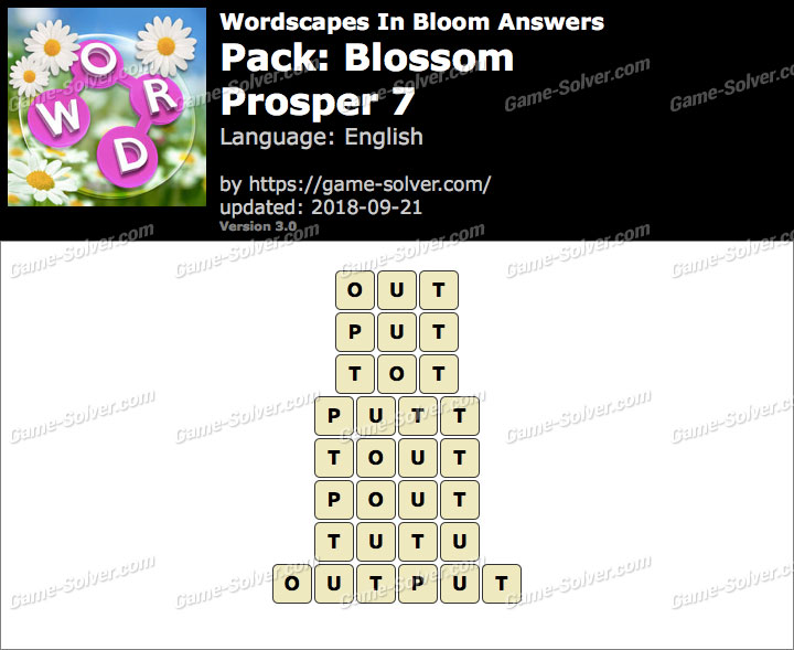 Wordscapes In Bloom Blossom-Prosper 7 Answers