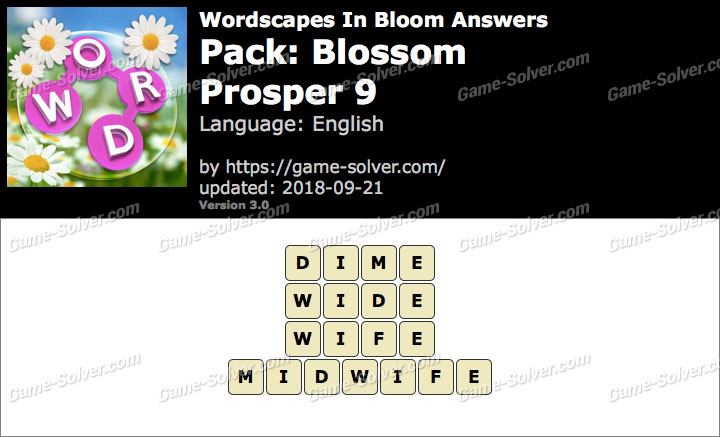 Wordscapes In Bloom Blossom-Prosper 9 Answers