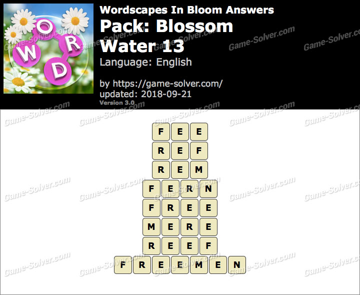 Wordscapes In Bloom Blossom-Water 13 Answers