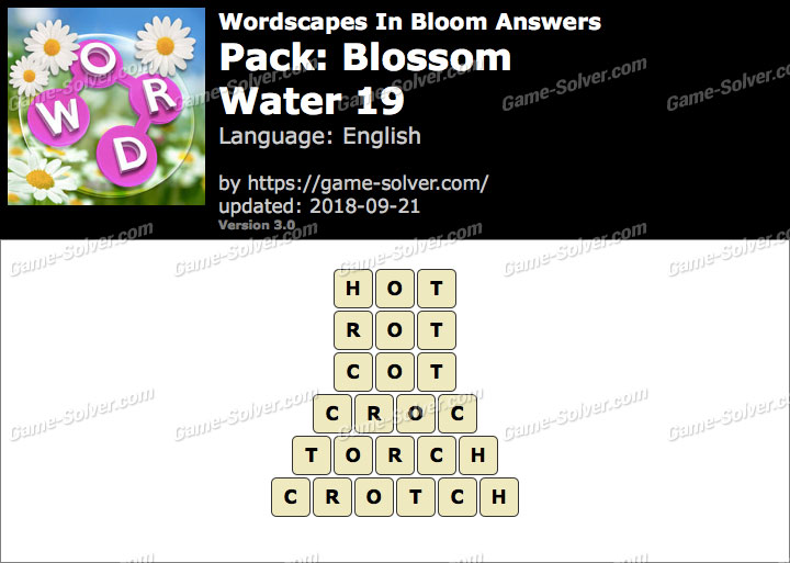 Wordscapes In Bloom Blossom-Water 19 Answers