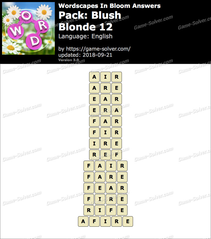 Wordscapes In Bloom Blush-Blonde 12 Answers