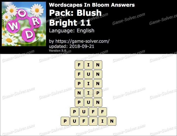 Wordscapes In Bloom Blush-Bright 11 Answers