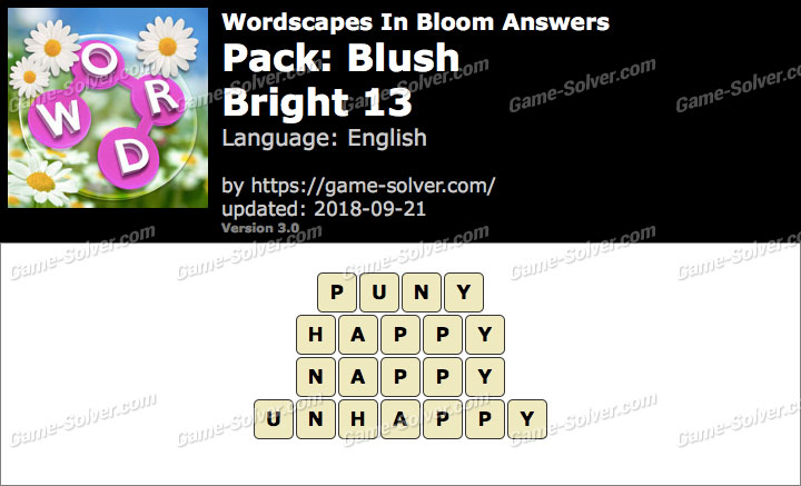 Wordscapes In Bloom Blush-Bright 13 Answers