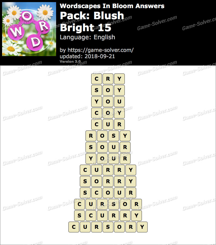 Wordscapes In Bloom Blush-Bright 15 Answers