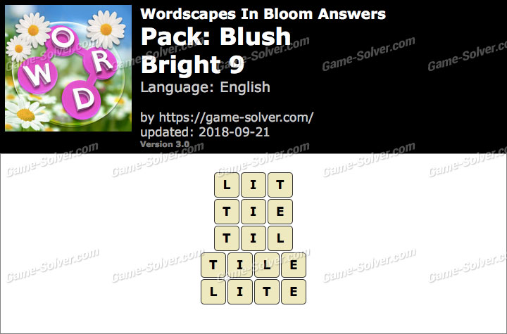 Wordscapes In Bloom Blush-Bright 9 Answers