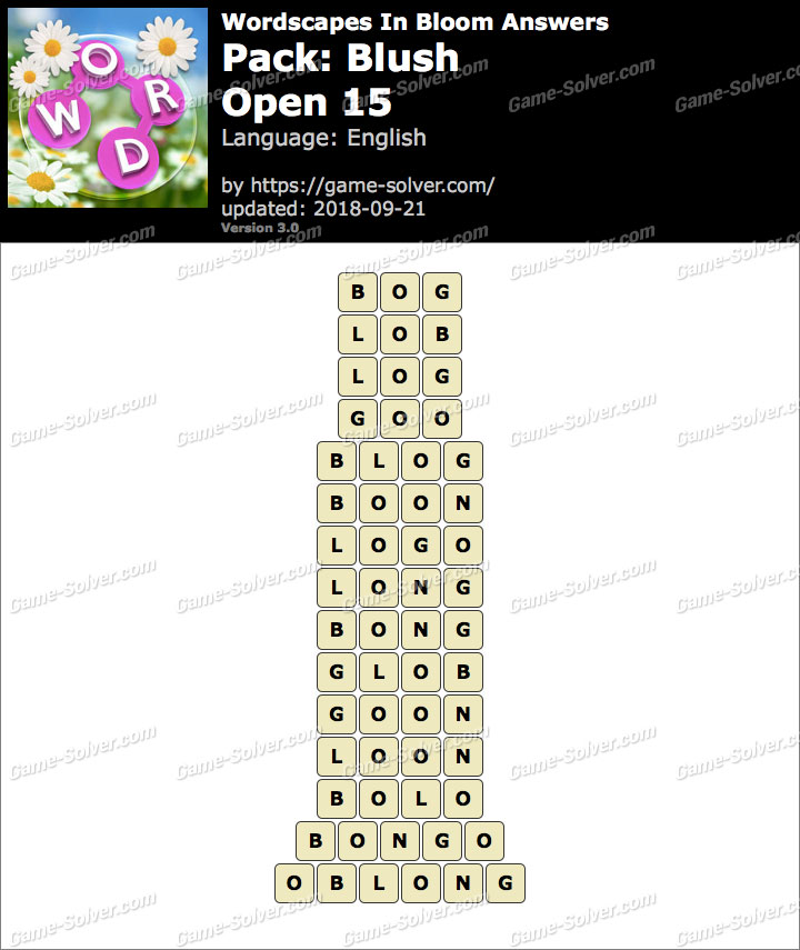 Wordscapes In Bloom Blush-Open 15 Answers