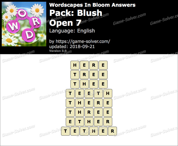 Wordscapes In Bloom Blush-Open 7 Answers