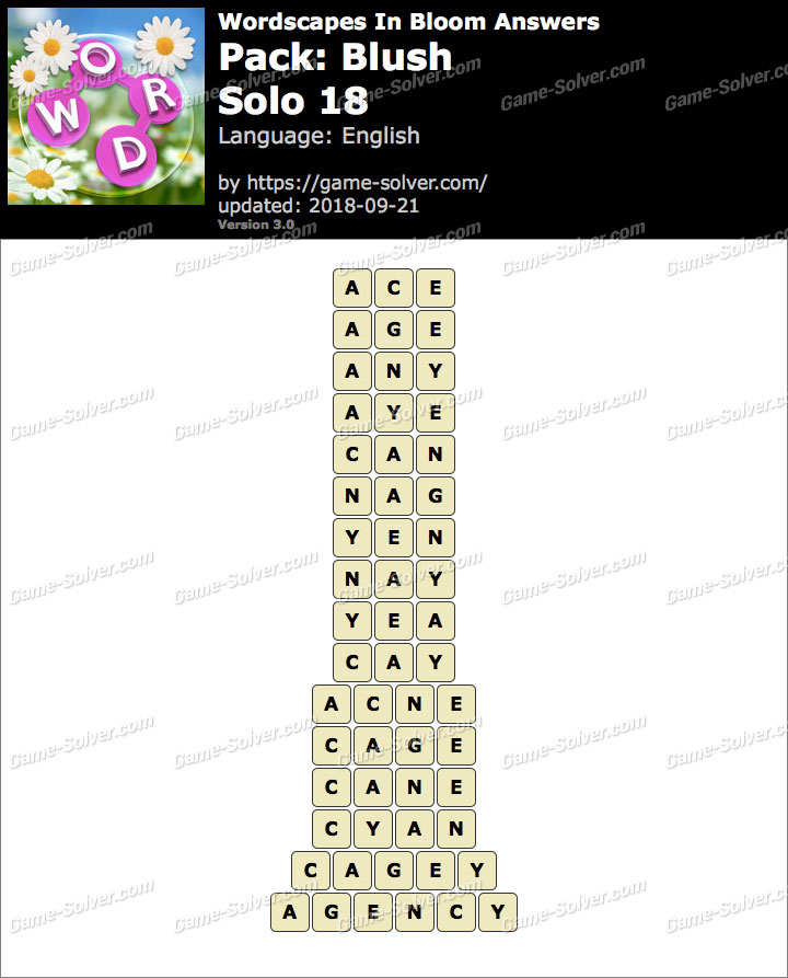 Wordscapes In Bloom Blush-Solo 18 Answers