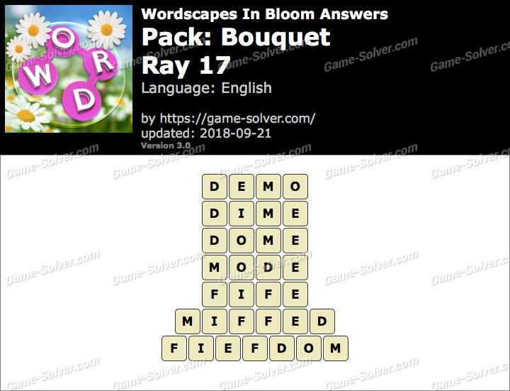 Wordscapes In Bloom Bouquet-Ray 17 Answers