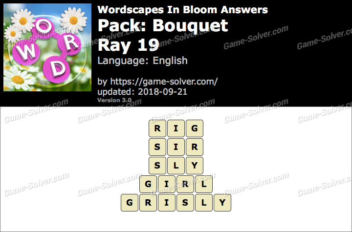 Wordscapes In Bloom Bouquet-Ray 19 Answers