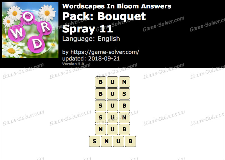 Wordscapes In Bloom Bouquet-Spray 11 Answers