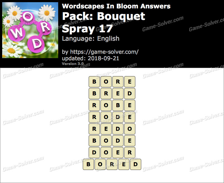 Wordscapes In Bloom Bouquet-Spray 17 Answers