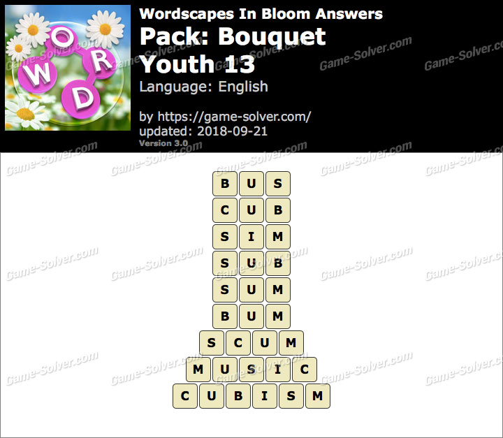 Wordscapes In Bloom Bouquet-Youth 13 Answers