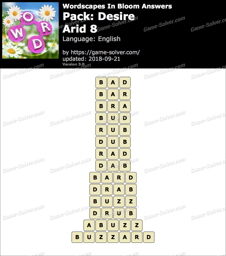 Wordscapes In Bloom Desire-Arid 8 Answers