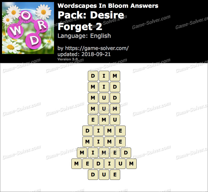 Wordscapes In Bloom Desire-Forget 2 Answers