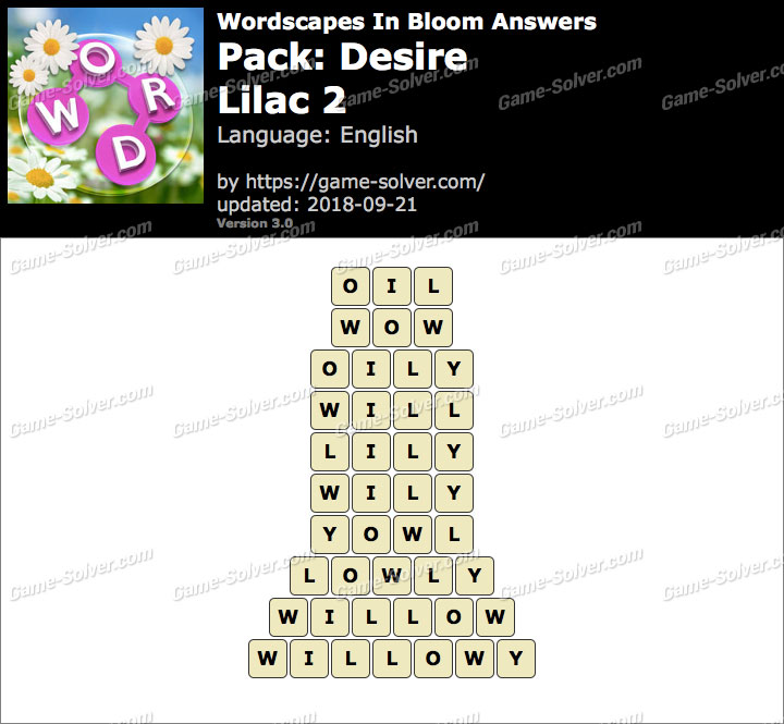Wordscapes In Bloom Desire-Lilac 2 Answers