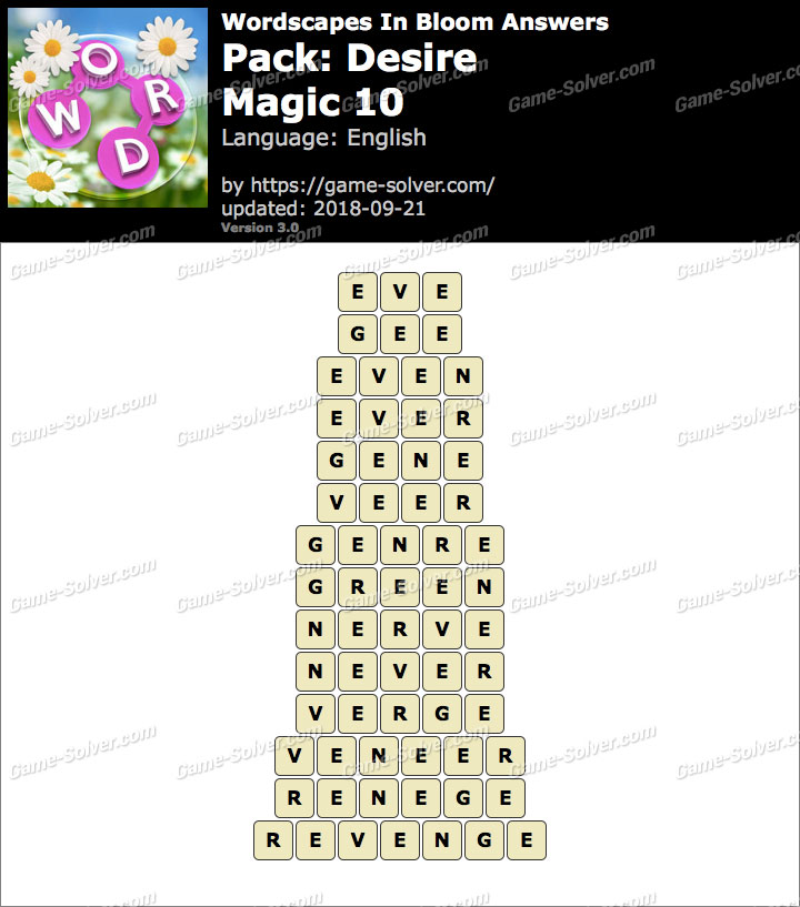 Wordscapes In Bloom Desire-Magic 10 Answers