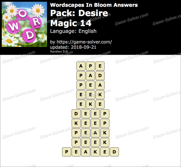 Wordscapes In Bloom Desire-Magic 14 Answers