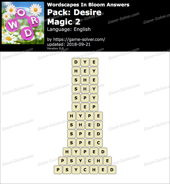Wordscapes In Bloom Desire-Magic 2 Answers