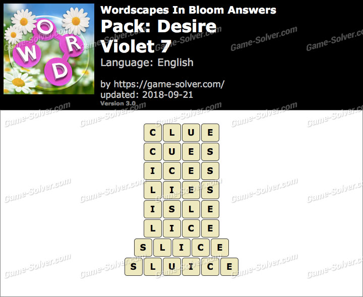 Wordscapes In Bloom Desire-Violet 7 Answers
