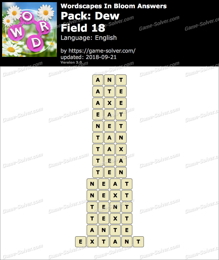 Wordscapes In Bloom Dew-Field 18 Answers