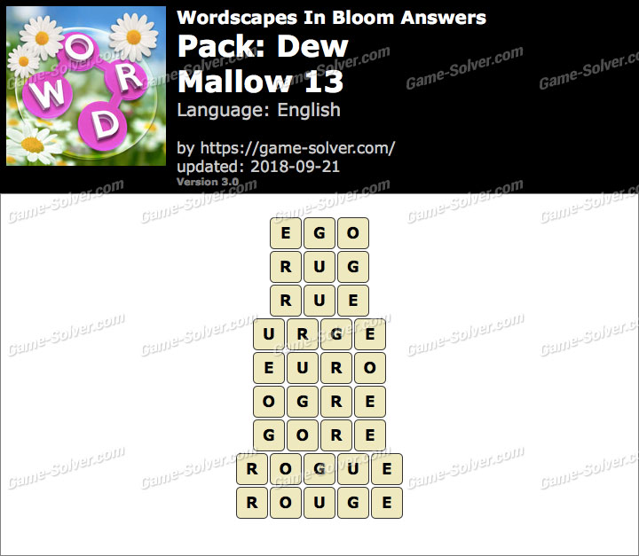 Wordscapes In Bloom Dew-Mallow 13 Answers