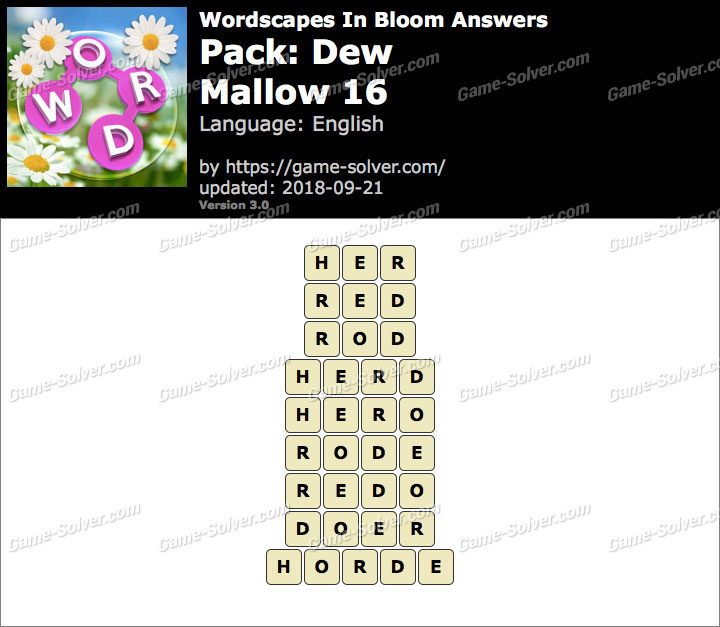 Wordscapes In Bloom Dew-Mallow 16 Answers
