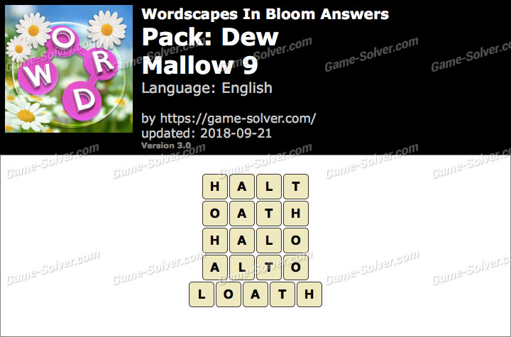 Wordscapes In Bloom Dew-Mallow 9 Answers