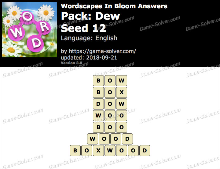 Wordscapes In Bloom Dew-Seed 12 Answers