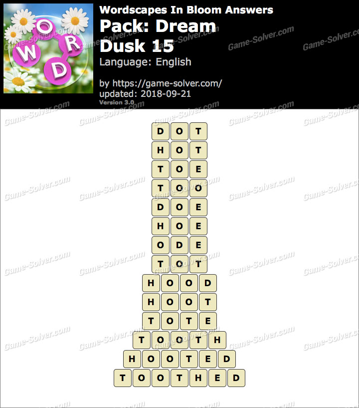 Wordscapes In Bloom Dream-Dusk 15 Answers
