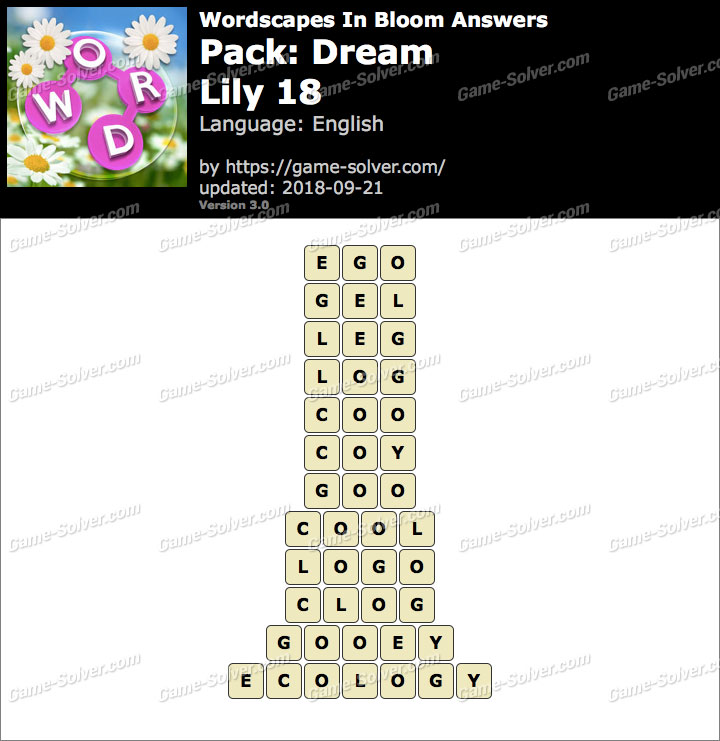 Wordscapes In Bloom Dream-Lily 18 Answers