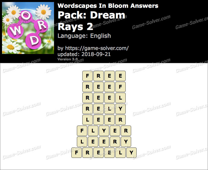 Wordscapes In Bloom Dream-Rays 2 Answers