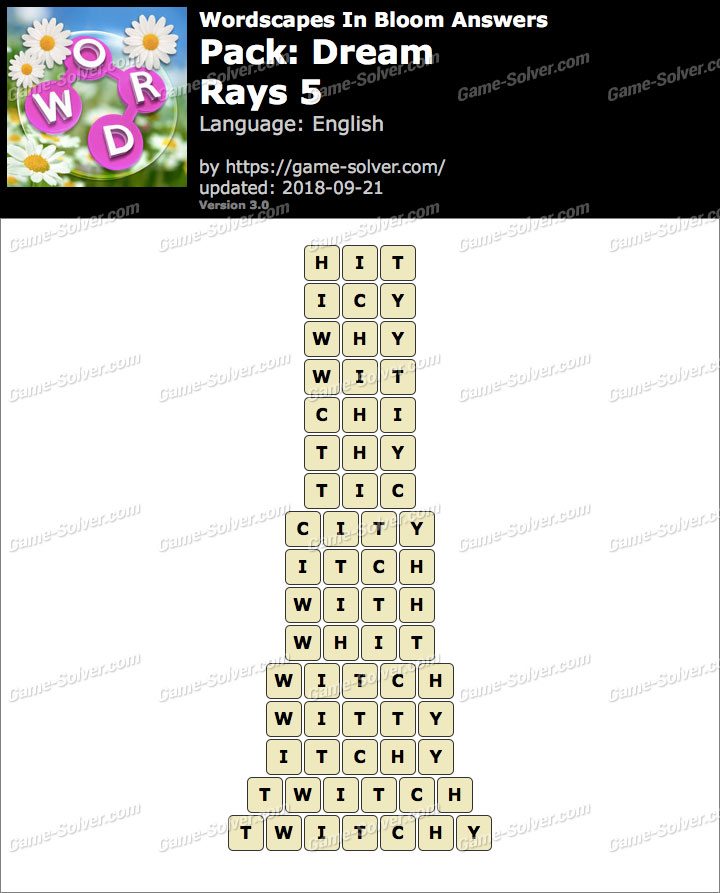 Wordscapes In Bloom Dream-Rays 5 Answers