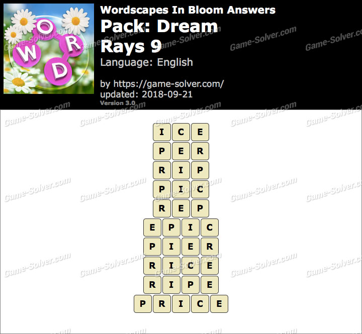 Wordscapes In Bloom Dream-Rays 9 Answers