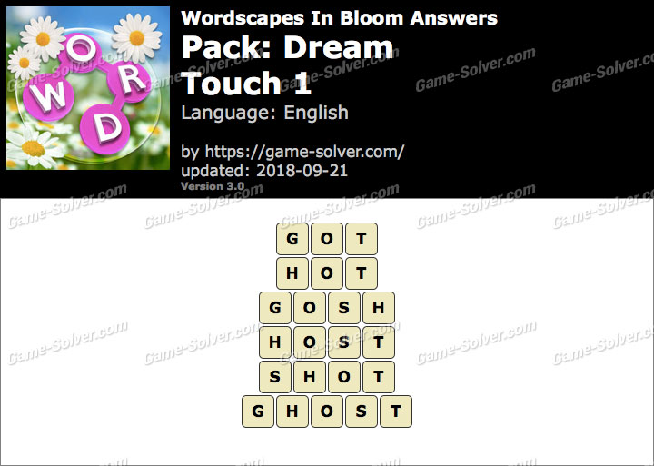 Wordscapes In Bloom Dream-Touch 1 Answers