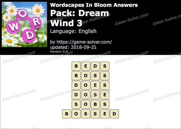 Wordscapes In Bloom Dream-Wind 3 Answers