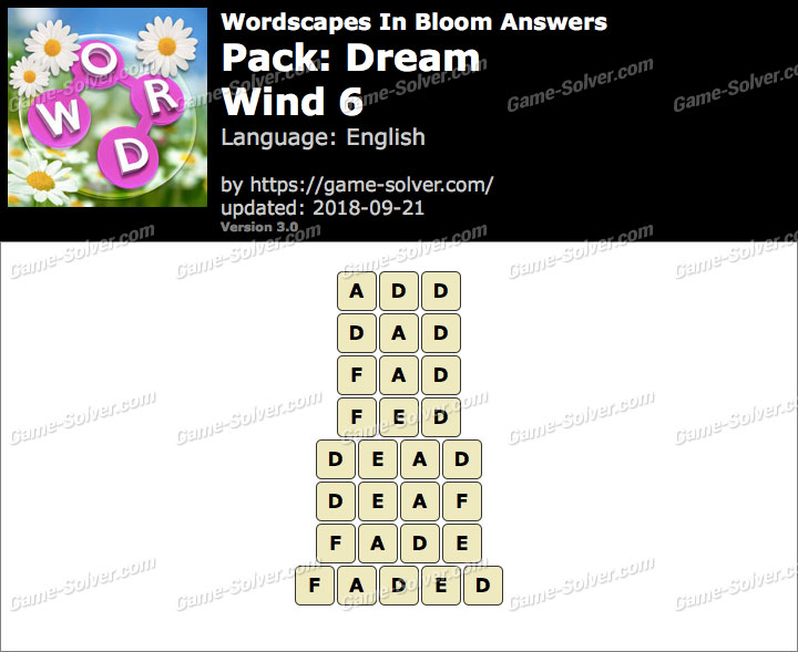 Wordscapes In Bloom Dream-Wind 6 Answers