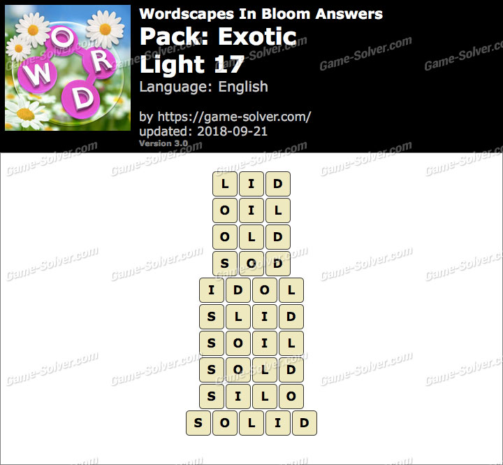 Wordscapes In Bloom Exotic-Light 17 Answers