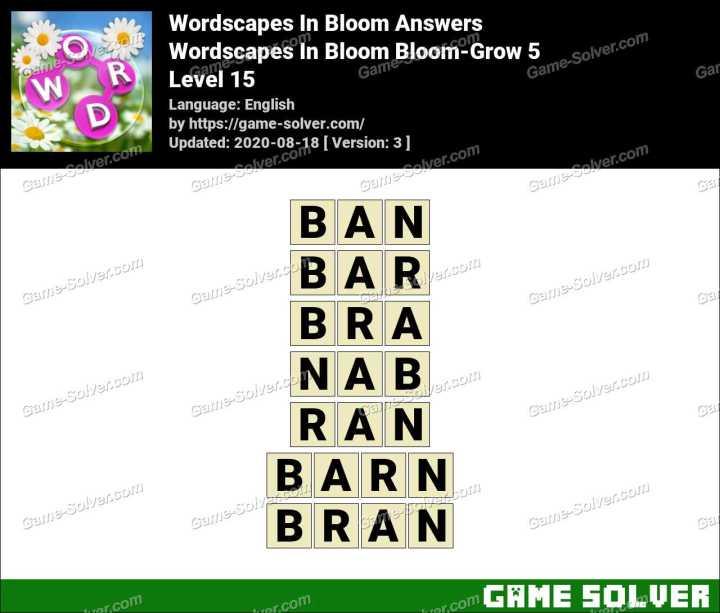 Wordscapes In Bloom Fields-Buff 15 Answers