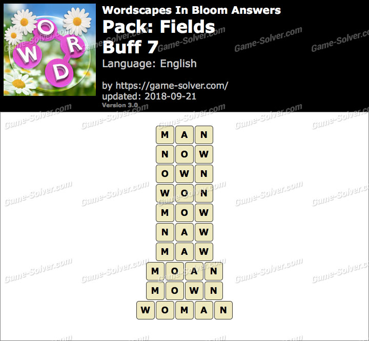 Wordscapes In Bloom Fields-Buff 7 Answers