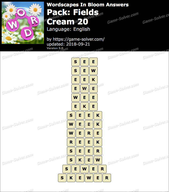 Wordscapes In Bloom Fields-Cream 20 Answers