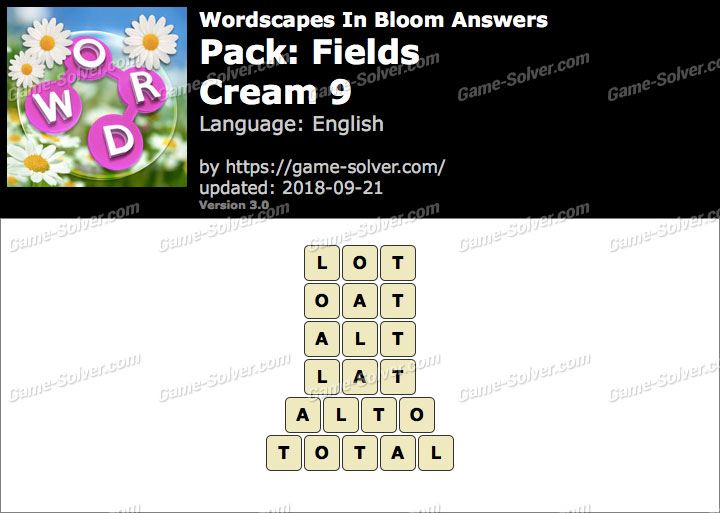 Wordscapes In Bloom Fields-Cream 9 Answers