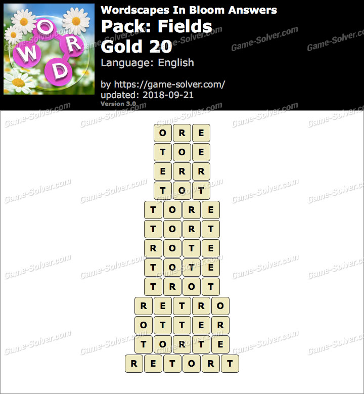 Wordscapes In Bloom Fields-Gold 20 Answers