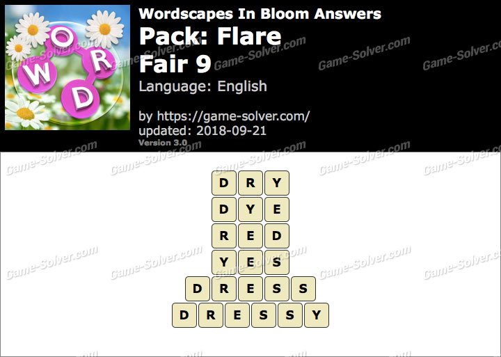 Wordscapes In Bloom Flare-Fair 9 Answers
