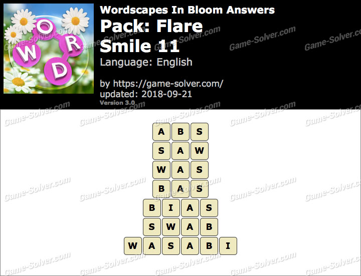 Wordscapes In Bloom Flare-Smile 11 Answers